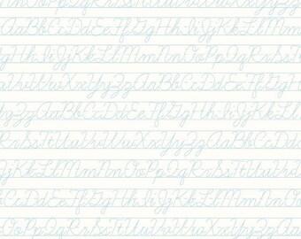 Bee Backgrounds - Penmanship Aqua by Lori Holt of Bee in My Bonnet for Riley Blake, 1/2 yard, C6388-Aqua