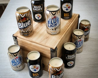Soy Candle - 2017 Labatt Blue / Bud Light NFL Pittsburgh Steelers Team Football Beer Can Soy Candle with Custom Scent