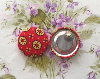 Wholesale Earrings / Fabric Covered Button Earrings / Studs / Gifts for Her / Red Vintage Print / Statement Jewelry / Oversized Earrings