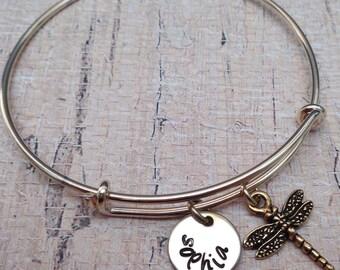 Gold Personalized Bangle Bracelet Dragonfly- Custom Names Initials Bangle - Dragonfly Gold Adjustable- Bridesmaid Wedding Gift Rustic -B-24