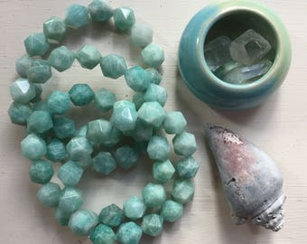 Mermaid | Stackable Mala Inspired |Spiritual Junkies | Chunky 10 mm |Amazonite Nugget Bracelet | Yoga + Meditation | 1 Bracelet