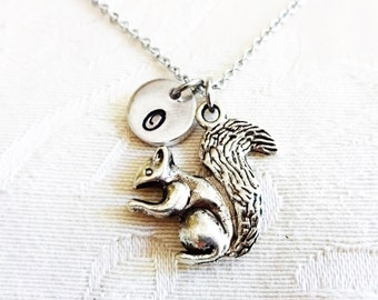 SQUIRREL NECKLACE in silver or bronze tone  - personalized with initial charm - choice of chains
