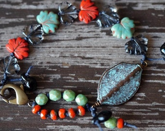 Unlisted - Turquoise and Coral Bracelet - Boho - Leaf Bracelet - Knotted - Bead Soup Jewelry