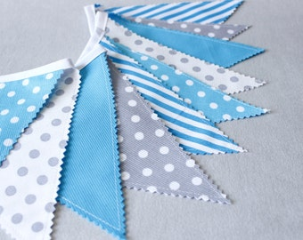 Bunting Banner, Photography Prop,Fabric Flags,Turquoise,Aqua, Fabric Banner, Baby Boy Nursery Decor, Baby Shower,Blue,Gray,Grey,Stripes,Dots