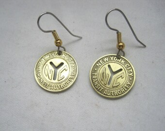 Coin Jewelry~ New York subway token earrings~memories!