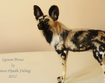 Needle felting African Wild Dog, Made to order Lycaon, needle felted dog sculpture,