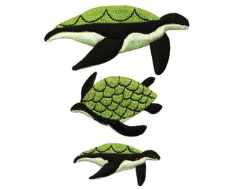 ID 0728ABC Set of 3 Sea Turtle Patches Sea Life Embroidered Iron On Applique