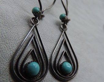 turquoise teardrop earrings sterling silver