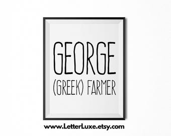 George Name Meaning Art - Printable Baby Shower Gift - Nursery Printable Art - Digital Print - Nursery Decor - Typography Wall Decor