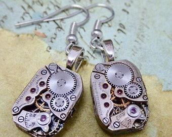 Jeweled Watch movement earrings  - Steampunk Earrings - Watch Movements -  Repurposed art