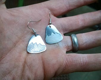 Etched Mountain Earrings