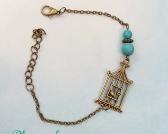 Bird cage bronze and turquoise howlite Beads Bracelet