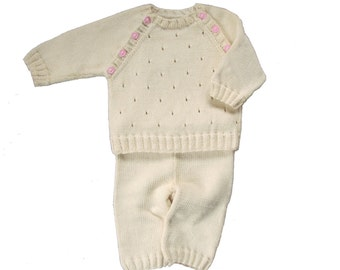 Sample Sale Hand Knit  Cashmere/Cotton Set  for Baby Girl - 0-3M Free Shipping in US