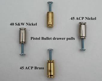 Handcrafted Bullet 40 S&W  (10mm ) or 45 ACP bullet drawer pulls/cabinet knobs