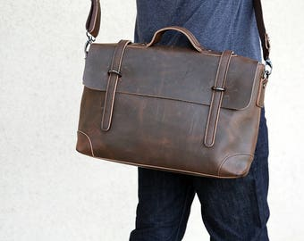 Chris - Espresso leather messenger bag for men, father's day gift, laptop bag, full grain leather bag for men