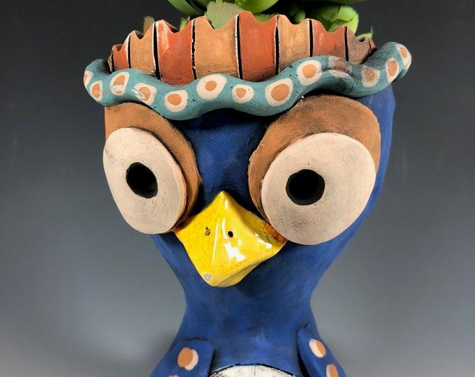 Indigo Owl // Pothead // Animal Planter // Succulent Pot //  Small Sculpture // Ceramic // One of a Kind // Office Decor // Plants //