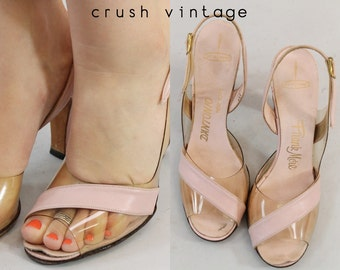 50s Shoes Frank More Slingbacks 6 / 1950s Vintage Sandals Peeptoe Lucite / D'Antonio Shoes