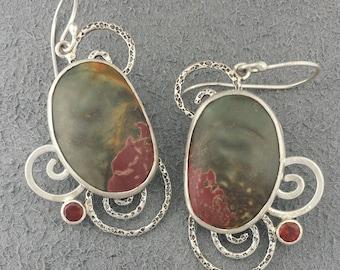 Red Creek Jasper Earrings- Jasper Stone Jewelry- Sterling Silver Jewellery- Handmade Jasper Cabochon Earrings- Red Garnet Gemstone Earrings
