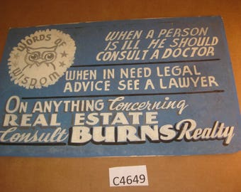 Vintage Cardboard Hand Painted Advertising Sign for Burns Realty  [c4649o]