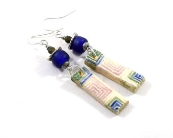Handmade Earrings, Ceramic Earrings, Blue White and Green Earrings, Artisan Earrings,  Boho Earrings, Silver Earrings, Cobalt, AE217