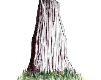 """Monolith Print:  Digital print of an original drawing available 5x7"""" or 8x10"""""""