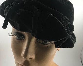 Vintage Ladies' Black Velvet Hat with Pearl Trim