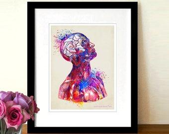 "Watercolor Anatomical Head,  8.5"" x 11"",Anatomy Medical print, Neurologist Gift, Nurse gift, Neurosurgeon gift, Vintage Muscular System body"