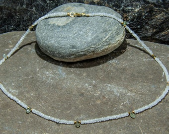 Moonstone and tourmaline with gilded sterling silver