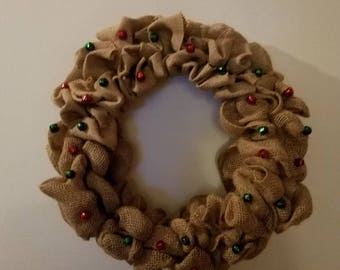 Burlap Christmas Jingle Bell Wreath
