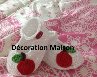 White crochet with Red Apple baby shoe