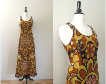 Vintage bohemian retro floral pattern maxi dress / cotton overall style long dress / yellow navy and orange mod print