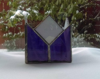 Candle Shelter With Royal Purple a nd White, Hand Made In Staiend Glass
