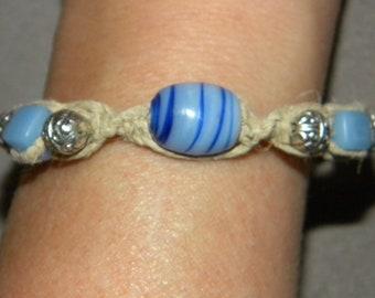 Hemp, Macrame, Boho, Hippie, Beach, Surfer, Natural, Blue Glass Beads, Silver Beads, Beaded Bracelet