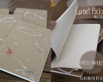 Carnet Illustré Moleskine de poche / Mini carnet de notes / Couverture cartonné kraft gris ou naturel beige / Pièce unique pour écrire