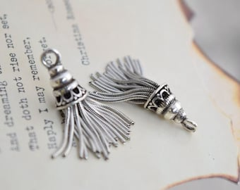 2 pcs sterling silver tassel charm pendant  AY1
