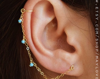 Helix earring, chain earring, helix hoop, Cartilage Chain Earring Helix - Helix Earring Piercing - Helix Hoop