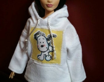 Barbie Fashionista White Snoopy Hoodie Doll Clothes Curvy Petite