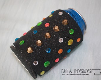 Studs and Neon Bling Beer Cover // Bedazzled Party Cozy // Neon Bling Can Cooler