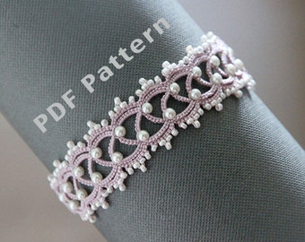 Tatting lace bracelet pdf pattern (The Snow Queen)