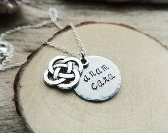 Anam Cara Soul Friend Necklace- Celtic Knotwork Pendant- Stamped Anam Cara Hidden Message Necklace- Mom Necklace