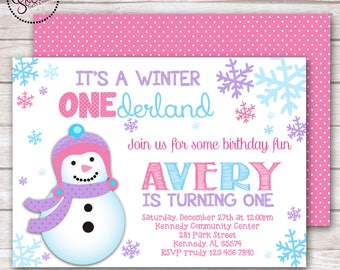Winter ONEderland Snowflake Birthday Party Invitation DIGITAL OR PRINTED