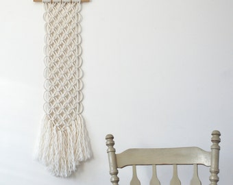"Macrame Wall Hanging // 37"" x 8"" // Long Woven Wall Hanging // Flower of Life Art // Modern Macrame Art // Wall Tapestry"