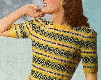 PDF Knitting pattern for a Fair Isle Jumper in a 4 coloured Design Way  - 1940's - Instant Download