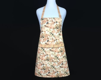 Pig Apron / Barbecue Apron with pigs / BBQ Apron with Pocket / Backyard Cook Out Apron / BBQ Pig Apron / Professional Chef apron