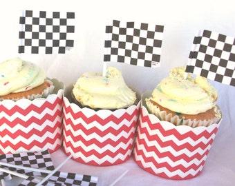 Checkerboard Flag CuPCaKe PiCKs-Parties--race car theme-12 ct
