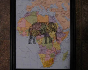 """Elephant on Vintage Map of Africa Print - 8"""" x 10"""""""