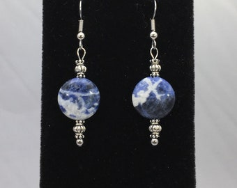 Sodalite Gemstone with Silver Tone Metal Accents Dangle Earrings