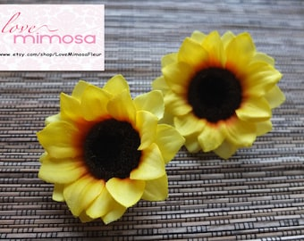 A pair of Sunflower Hair clips, Wedding Accessories, Wedding Hair Flowers