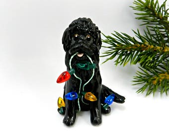 Newfoundland Porcelain Christmas Ornament Figurine Lights OOAK