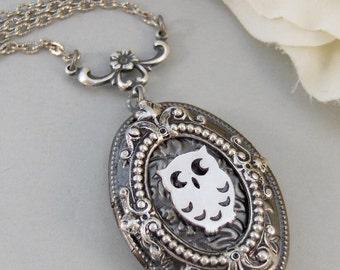 Wise Owl,Owl,Owl Necklace,Owl Locket,Owl Jewelry,Locket,Silver Locket,Silver Necklace,Owl,Silver,Woodland,Antique Locketvalleygirldesigns